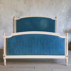 Louis XVII style bed, blue stripe velvet upholstery.