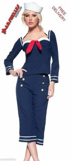 LADIES WOMENS SAILOR NAVY UNIFORM MILITARY FANCY DRESS COSTUME - SIZE S ...  sc 1 st  Pinterest & 15 Classic Vintage 1940s Dress Styles | Pinterest | Sailor dress ...
