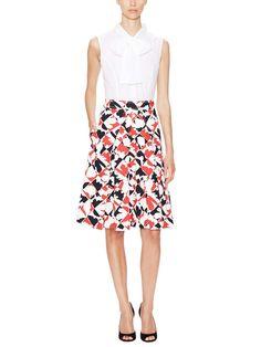 Cotton Pleated A-Line Skirt Carolina Herrera red and black