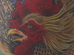 Rooster tattoo by Bill Canales - Full Circle Tattoo - San Diego, CA. Rooster Tattoo, Rooster Art, Color Tattoo, I Tattoo, Full Circle Tattoo, Great Artists, Tattoo Artists, Fabric Design, San Diego