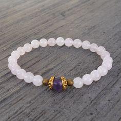 Healing, genuine rose quartz and amethyst guru bead bracelet – Lovepray jewelry