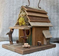 Rustic Birdhouse with Porch -