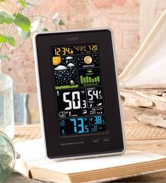 La Crosse® Vertical Wireless Forecast Station features dynamic color forecast icons and tracks indoor/outdoor temp & humidity. La Crosse Technology, Atomic Time, Weather Instruments, Wind Spinners, Temperature And Humidity, Mug Designs, Solar, Moon Phases, Weather Conditions