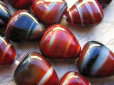 Vintage Beads glass red black heart teardrop beads
