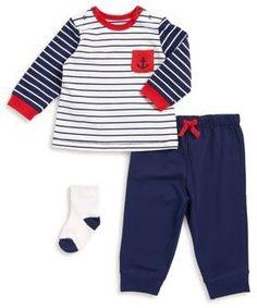 Little Me Baby Boy's Three-Piece Stripe Top, Pants, and Socks Set