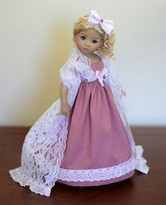"""SOLD """"Vintage Rose"""" Regency Dress, Outfit, Clothes for 13"""" Dianna Effner Little Darling #LuminariaDesigns"""