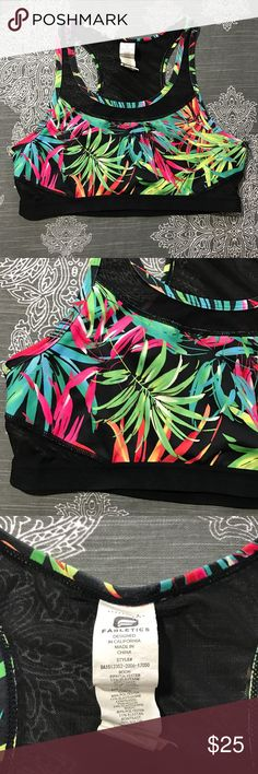 {Fabletics} Tropical Print Sports Bra Strappy Awesome athletic bra in excellent condition! Looks perfect with solid black crops. Size large. Fabletics Intimates & Sleepwear Bras