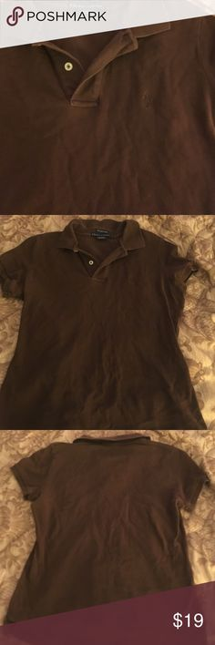Ralph Lauren skinny polo Brown collars polo, great condition like new, and Comfy Tops Button Down Shirts