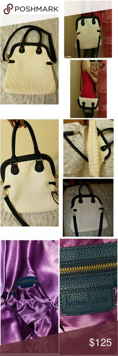 NEIMAN MARCUS 3way hand, shoulder & crossed bag.. Can be worn in 3 ways, check pic. 1. It's white but i think theres something in the material that you wont see any stains on the body it is still so white after a long time.. i used it a few times with care, i dont just put it anywhere cause it is white. The only catch is those shown in pic. 4 which will not be seen cause its at the back of the handle.. but thats about it, everything is in great condition. Neiman Marcus Bags Shoulder Bags