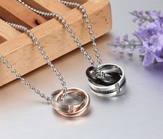 Endless love couple necklace pendant stainless steel double loop couples for wedding christmas jewelry Love Necklace, Necklace Types, Ring Necklace, Pendant Necklace, Couple Necklaces, Metal Necklaces, Jewelry Shop, Fine Jewelry, Endless Love