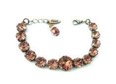 BLUSH ROSE Swarovski crystal bracelet 8mm and 12mm by SiggyJewelry
