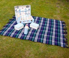Vintage Retro 1960s/1970s Blue & Green Tartan Picnic Blanket Rug by UpStagedVintage on Etsy