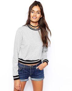 ASOS Sweatshirt with Contrast Rib Greymarl (Gray) UK 4 EU 32 RRP £20.00
