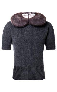 Cashmere Crew Neck Sweater With Detachable Fur Collar by Marc Jacobs Now Available on Moda Operandi