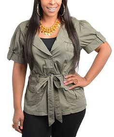 Take a look at this Olive Green Short-Sleeve Belted Jacket - Plus by Ami Sanzuri on #zulily today!