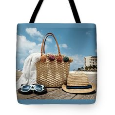 Tote Bag featuring the photograph At The Beach by Evgeniya Lystsova. Summer accessories on the wooden bridge at the tropical beach, vacation concept. Each Tote Bag is machine-washable in cold water and is printed on both sides using the same image. Nice Bag for you, nice Gift for a friend. See more styles in my gallery. SHIPS WITHIN 3-4 business days! #ToteBag #Beach #Summer #Accessories #LifeStyle
