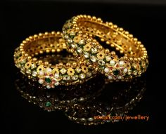 Looking for gold and diamond jewellery? Vummidi has the best collection of diamond rings, diamond earrings and gold jewellery, handcrafted to perfection. The Bangles, Kundan Bangles, Ruby Bangles, Bridal Bangles, Gold Bracelets, Bracelets Design, Gold Bangles Design, Jewelry Design, Wedding Jewelry