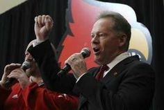 bobby petrino louisville football | Bobby Petrino gives a 'Go Cards' to the fans he met after being ...