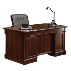 Outfit your home office with the Sauder Palladia Executive Desk - Select Cherry . This executive desk features a cherry finish with timeless appeal. Office Table Design, Office Setup, Office Decor, Ceo Office, Lawyer Office, Office Designs, Reading Table, Commercial Office Furniture, Luxury Office