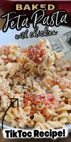 BAKED FETA PASTA WITH CHICKEN (with video) is a quick meal made with simple ingredients. Inspired by the viral TikTok recipe, you'll love the addition of chicken! #bakedfetapasta #bakedfetapastatiktok #tiktok #bakedfetapastachicken #chickenrecipe #viralrecipe Quick Pasta Recipes, Healthy Dinner Recipes, Real Food Recipes, Chicken Recipes, Cooking Recipes, Quick Meals, What's Cooking, Cold Pasta Dishes, Food Dishes