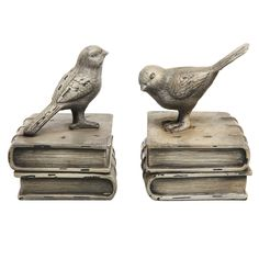 Amazon.com: Vintage Style Decorative Birds & Books Design Ceramic Bookshelf Bookends / Paper Weights - MyGift Home: Home & Kitchen