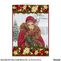 Beautiful Art Deco Lady Merry Christmas Card