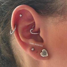 piercing Helix Piercing with Swarovski Ring, Scapha Piercing with Titanium Light Spot, . Helix Piercing with Swarovski Ring, Scapha Piercing with Titanium Light Spot, . Pretty Ear Piercings, Types Of Ear Piercings, Body Piercings, Scapha Piercing, Smiley Piercing, Ear Jewelry, Cute Jewelry, Jewellery, Helix Jewelry