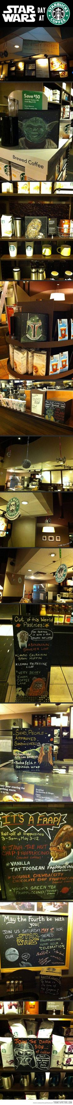 A long time ago, in a coffee shop far, far away…This just makes me <3 Starbucks a little bit more.