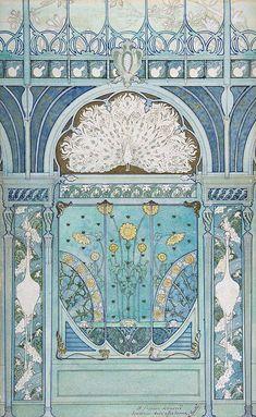 Émile Hurtré. design - 1896-1898 - Wall Decoration with Peacock, Cranes, and Sunflowers for the Restaurant in Hotel Langham in Paris - The Metropolitan Museum of Art - Art Nouveau