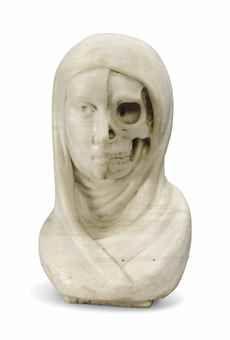 """An Italian carved marble """"vanitas"""" bust"""