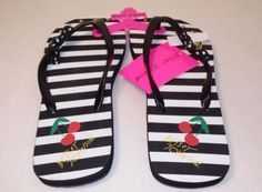 from $29.99 - Nwt Betsey Johnson Cherry Striped Studded Flip Flop Sandals Women's 10