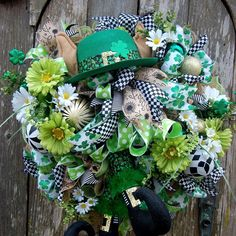 FUN, WHIMSICAL ST PATTY's Day Wreath with Leprechaun hat and legs