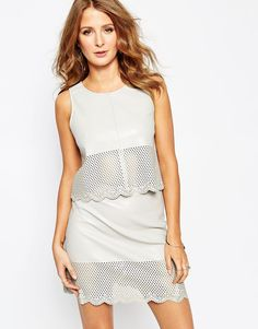 Millie Mackintosh Top in Laser Cut Leather Look