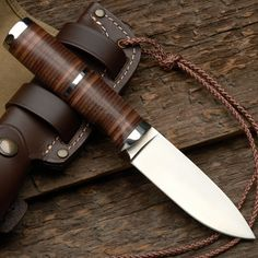 Stacked Leather Grip Sheath Knife MADE IN SPAIN