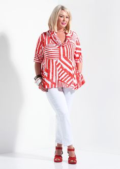 Get Discounts on Plus Size Womens Clothing - SUN STRIPE CONVERTIBLE TOP - TS14+