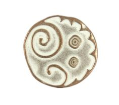 Metal Buttons Copper White Swirl and Circles Metal Shank Buttons- 20mm - 3/4 inch