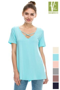 Tanboocel Bamboo Top Tunic solid short sleeve v neck TOP 24244