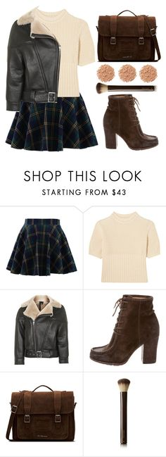 """Shearling Coat"" by wolfiexo ❤ liked on Polyvore featuring Chicwish, Totême, Topshop, Frye, Dr. Martens, Hourglass Cosmetics, Illamasqua, chic, skirt and Sweater"
