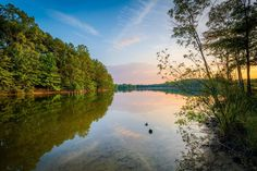 Lake Norman at sunset, at Parham Park in Davidson, North Carolina.   Mounted Photo Print, Stretched Canvas, Metal Print Home Decor Wall Art.