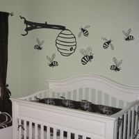 Bumblebees & Bee Hive - Set of Seven - Wall Decals Nursery Themes, Room Themes, Themed Nursery, Nursery Art, Nursery Ideas, Baby Boy Rooms, Baby Cribs, Winnie The Pooh Nursery, Kids Room Wall Decals
