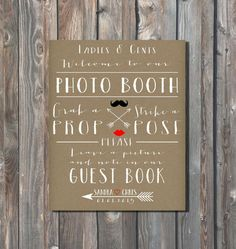Personalized Wedding Photo Booth Sing-Photo Booth Sign-Guest Book Sign-Rustic Sign-Minimalist Sign-Wedding Typography,Monogram-Arrow Heart