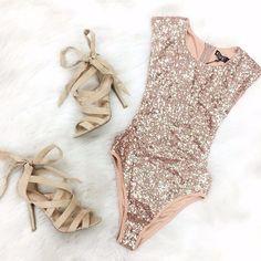 Rose Gold Sparkly Sequins Sleeveless Swimwear Leotard Bodysuit