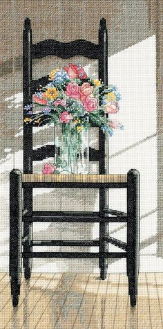 Chair with Flowers Cross Stitch Kit