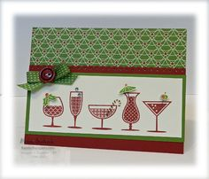 Happy Hour....love the card design, however, I would choose brightly colored DSP such as Summer Smooches or Floral District.  These colors remind me of Christmas.