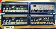 Almost a Space Echo full house (just need to add the RE-200 from the studio). All of these are available to buy now - see the Link in our bio - all serviced & guaranteed.  Apart from the very clean RE-201 there's also a 101 - essentially a 201 without spring reverb & EQ; a 150 - this has various differences to a 201 including controls outputs & head spacings; and finally the RE-100 - this is the actual machine that featured in the Boss 40th anniversary exhibition in London. The first Space…