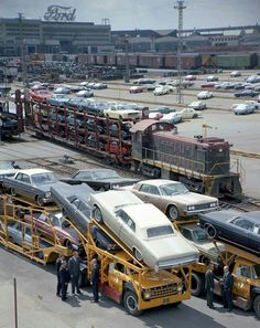 Ford Factory with Mustangs on a train