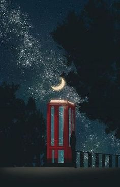 Post office, telephone booth and store fronts attract me so much. Art And Illustration, K Wallpaper, Arte Obscura, Anime Scenery, Moon Art, Cute Wallpapers, Fantasy Art, Concept Art, Art Drawings