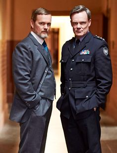 Craig McLachlan as Dr. Lucien Blake & Joel Tobeck as Chief Supt Matthew Lawson in The Doctor Blake Mysteries