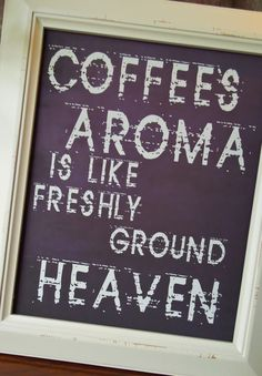 Coffee Aroma in Words by Gina Waltersdorff - Typography, Brown Decor In Home Modern Quote Kitchen Wall Decor. $16.00, via Etsy.
