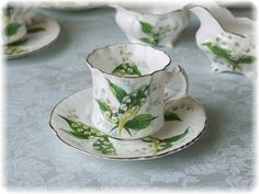 Fine Bone English China, by Hammersley, design 'Lily of the Valley'. My mother's favourite flower.
